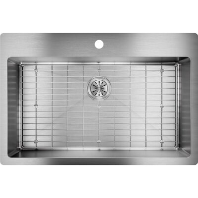 Crosstown 33 x 22 Undermount Kitchen Sink with Sink Grid Faucet Drillings: 1