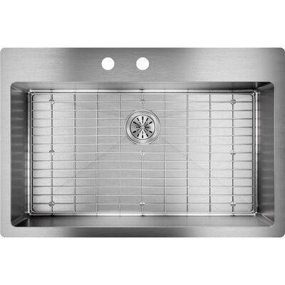 Crosstown 33 x 22 Undermount Kitchen Sink with Sink Grid Faucet Drillings: 2