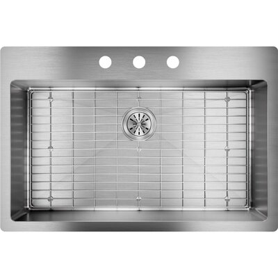 Crosstown 33 x 22 Undermount Kitchen Sink with Sink Grid Faucet Drillings: 3