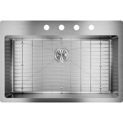 Crosstown 33 x 22 Undermount Kitchen Sink with Sink Grid Faucet Drillings: 4