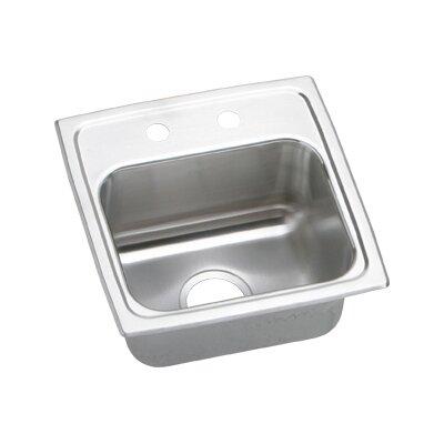 Gourmet 15 x 15 x 6.5 Top Mount Kitchen Sink Faucet Drillings: 2 Hole, Drain Size: 3.5