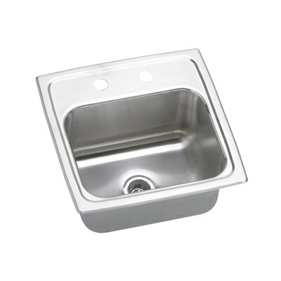 Gourmet 15 x 15 x 7.13 Top Mount Kitchen Sink with Faucet Faucet Drillings: MR2 Hole