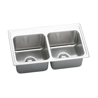 Gourmet 33 x 19.5 Top Mount Kitchen Sink Faucet Drillings: 4 Holes