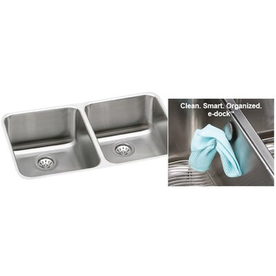 Gourmet 30.75 x 18.5 Lustertone Undermount Kitchen Sink with E-Dock Hook