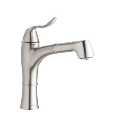 Explore One Handle Deck Mount Pull Out Kitchen Faucet Finish: Brushed Nickel