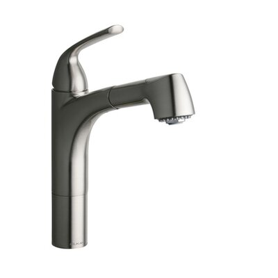 Gourmet Single Handle Deck Mount Kitchen Faucet Finish: Brushed Nickel
