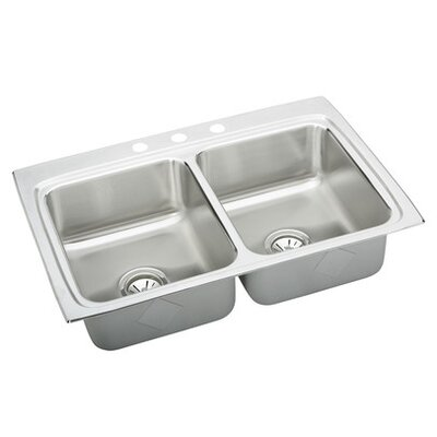Gourmet 33 x 22 Lustertone Kitchen Sink Faucet Drillings: 2 Holes