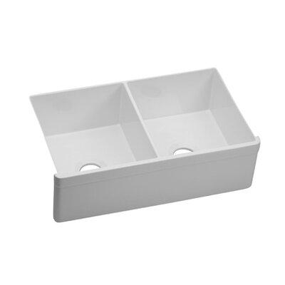 Explore 32.75 x 19.88 Farmhouse Kitchen Sink Finish: White (Gloss)