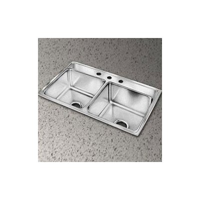 Gourmet 33 x 22 Top Mount Kitchen Sink Faucet Drillings: 3 Hole