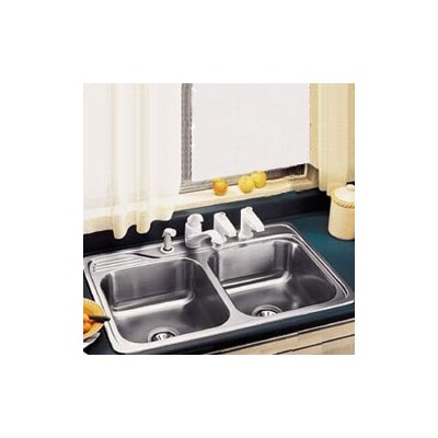 Gourmet 33 x 22 x 7.5 Top Mount Kitchen Sink Faucet Drillings: 4 Hole