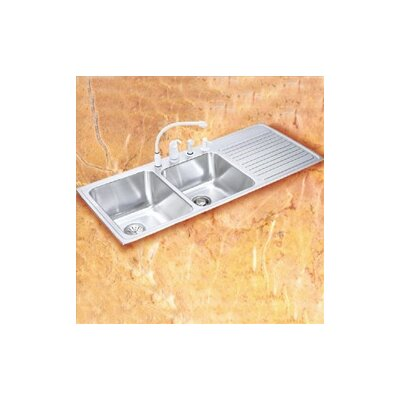 Gourmet 48 x 22 3-Hole Self Rimming Double Bowl Kitchen Sink