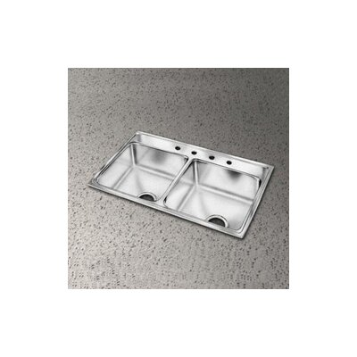 Lustertone 29 x 22 Double Bowl Kitchen Sink Faucet Drillings: 3 Holes