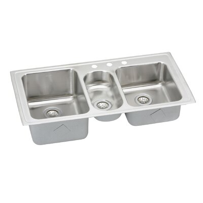 Gourmet 43 x 22 Self Rimming 3-Hole Triple Bowl Kitchen Sink with Faucet