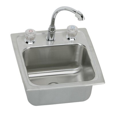Lustertone 15 x 15 Gourmet Self Rimming Bar Sink with Faucet