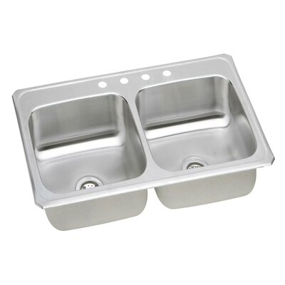 Gourmet 43 x 22 Top Mount Kitchen Sink Faucet Drillings: No Hole