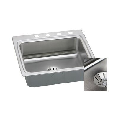 Gourmet 25 x 22 Kitchen Sink with Perfect Drain Faucet Drillings: 4 Hole