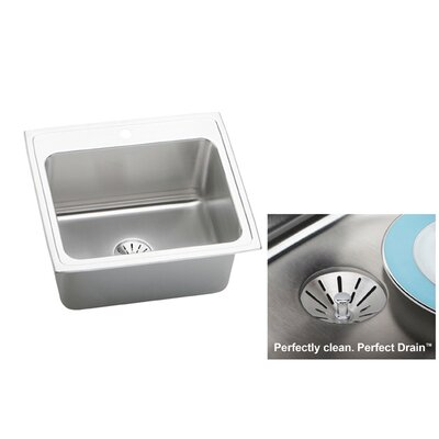 Lustertone 25 x 22 Drop-In Kitchen Sink with Drain Assembly Faucet Drillings: 4 Hole