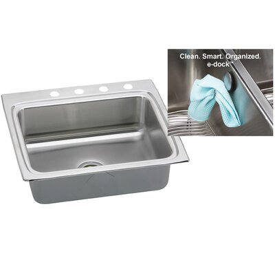 Gourmet 25 x 22 x 10.13 Top Mount Kitchen Sink Faucet Drillings: 4 Hole