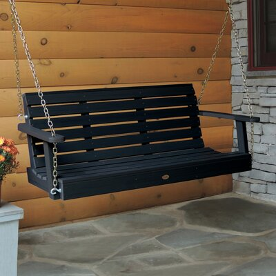Weatherly Porch Swing Color: Black, Size: 20 H x 52 W x 24 D