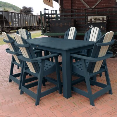 Deerpark 7 Piece Counter Height Dining Set Finish: Nantucket Blue/Whitewash
