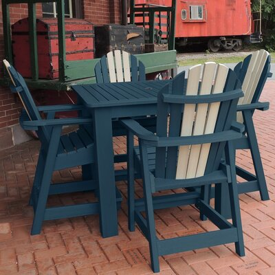 Deerpark 5 Piece Square Counter Height Dining Set Finish: Nantucket Blue/Whitewash