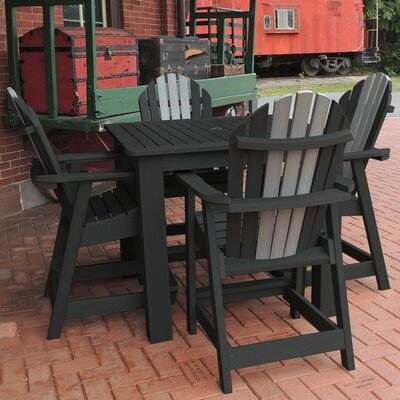 Deerpark 5 Piece Square Counter Height Dining Set Finish: Black/Coastal Teak