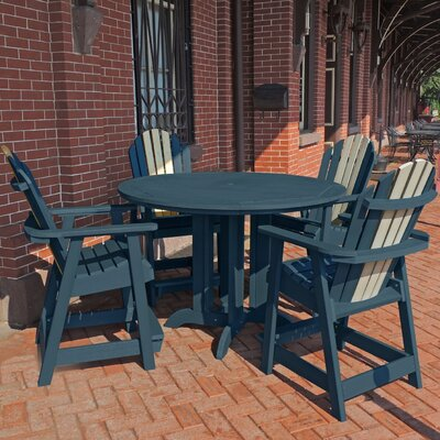 Deerpark 5 Piece Round Counter Height Dining Set Finish: Nantucket Blue/Whitewash