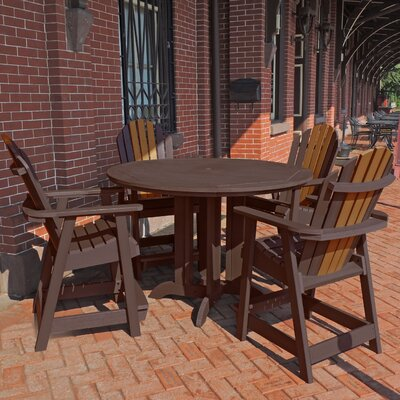 Deerpark 5 Piece Round Counter Height Dining Set Finish: Weathered Acorn/Toffee