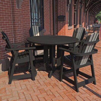 Deerpark 5 Piece Round Counter Height Dining Set Finish: Black/Coastal Teak