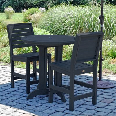 Deerpark Modern 3 Piece Counter Height Bistro Set Finish: Black
