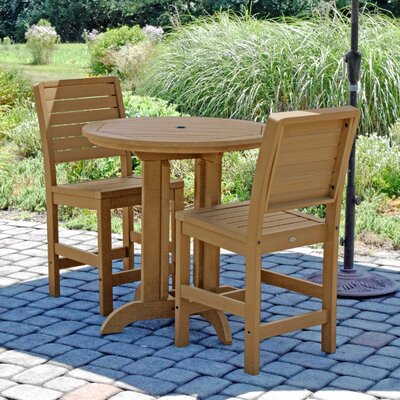 Deerpark Modern 3 Piece Counter Height Bistro Set Finish: Toffee