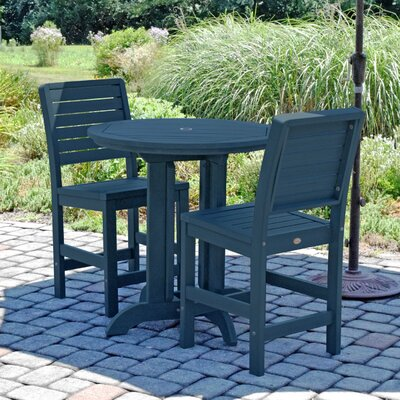 Deerpark Modern 3 Piece Counter Height Bistro Set Finish: Nantucket Blue