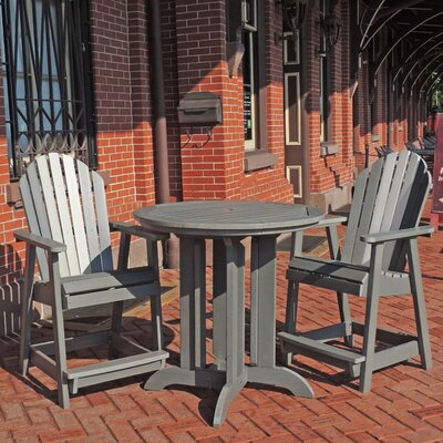 Deerpark 3 Piece Counter Height Bistro Set Finish: Coastal Teak/Whitewash