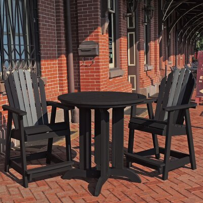 Deerpark 3 Piece Counter Height Bistro Set Finish: Black/Coastal Teak