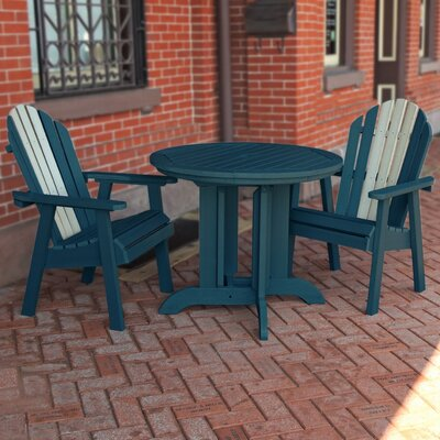 Deerpark Coastal 3 Piece Counter Height Bistro Set Finish: Nantucket Blue/Whitewash