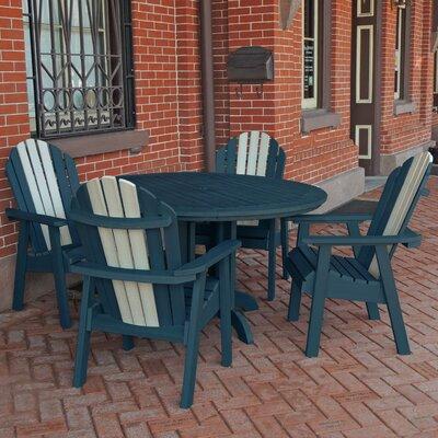 Deerpark 5 Piece Dining Set Finish: Nantucket Blue/Whitewash