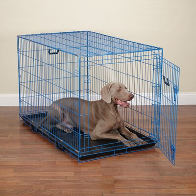 Colorful Wire Pet Crate Size: Small (20 H x 24 W x 17 D), Color: Blue Splash