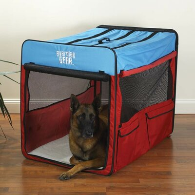Collapsible Pet Crate Size: X-large - Red / Blue