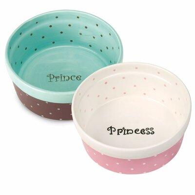 "Polka Dot Dog Dish Size: Cat - 6"" L, Color: Aqua / Prince"