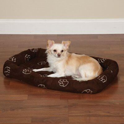 Embroidered Paw Print Crate Dog Mat Size: Small (23.75 L x 16.75 W), Color: Chocolate
