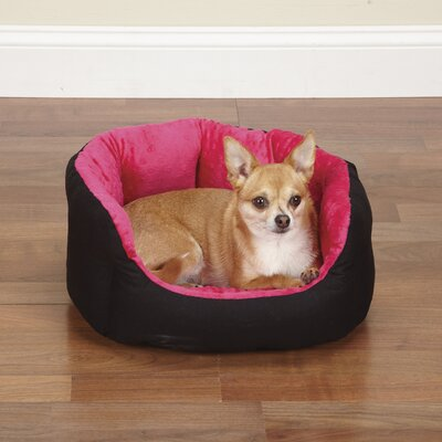 Dimple Plush Nesting Nest Dog Bed Size: 34 L, Color: Black / Pink