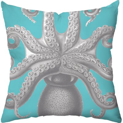 Checkerboard Octopus Poly Cotton Outdoor Throw Pillow - Color: Navy at Sears.com
