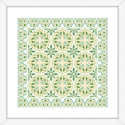 Geometric Green Pattern Framed Giclee Print 3515-01