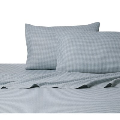Heather Ground Flannel Gingham Cotton Sheet Set Size: King, Color: Blue