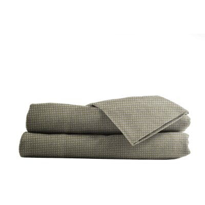Heather Ground Flannel Gingham Cotton Sheet Set Size: Full, Color: Tan