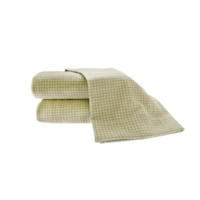 Heather Ground Flannel Gingham Cotton Sheet Set Size: King, Color: Sage