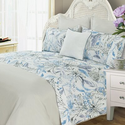 Zyron Wild Flower 400 Thread Count 100% Cotton Sheet Set Color: Blue/Gray, Size: Queen