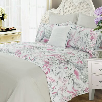 Zyron Wild Flower 400 Thread Count 100% Cotton Sheet Set Size: Full, Color: Pink/Gray