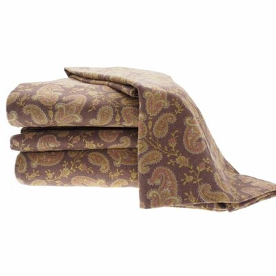 Heather Ground Flannel Paisley Cotton Sheet Set Color: Brown, Size: Queen