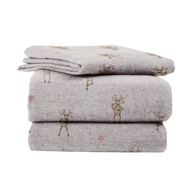 La Rochelle Heather Ground �Flannel Reindeer Cotton Sheet Set - Size: Full at Sears.com